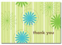 Daisy Stripes Thank You Note Card - 24 Count