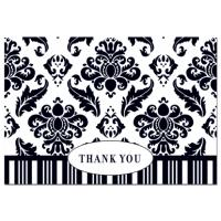 Black Damask Thank You Cards - 50 Count