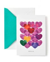 Heart Stamp Hello Note Card - 15 Count