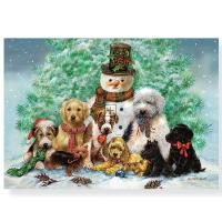 Mini Box Puppies and Snowman Holiday Card