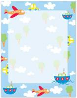 Blue Border Planes & Boats Letterhead - 40 Count