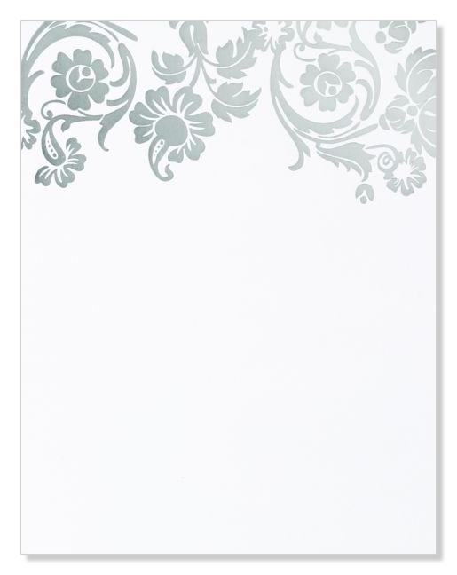 Silver Damask Foil Flat Card Invitations
