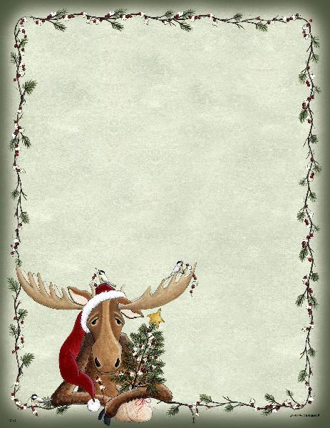 Lazy Christmas Moose Letterhead - 25 Count