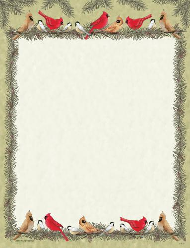 Cardinals and Chickadees Letterhead - 25 Count