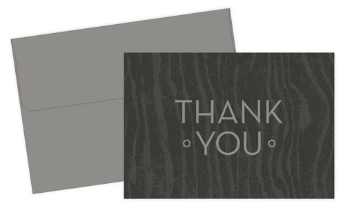 Grey Woodgrain Thank You Note - 10 Count