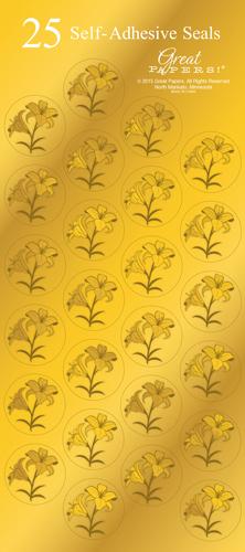 graphic regarding Printable Gold Paper named Easter Lily Gold Foil Seals - 25 Rely [DP2015023] : Designer Papers  ornamental printer paper Printable Paper Xmas stationery