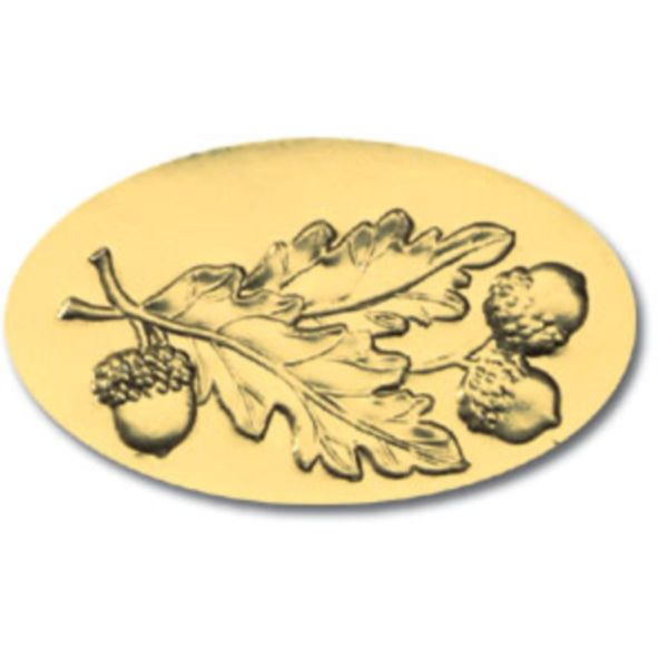 Acorn Leaves Gold Foil Seals - 30 Count
