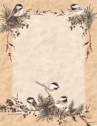Chickadees in the Pines Letterhead - 25 Count