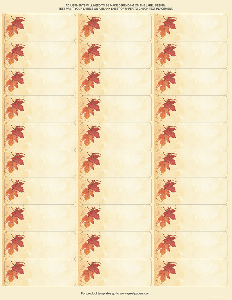 Fall Leaves Address Labels -120ct [DP2017004] : Designer Papers |  decorative printer paper | Printable Paper | Christmas stationery