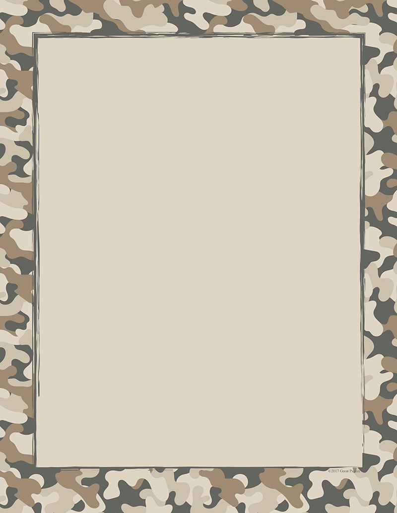 photo relating to Camo Printable Paper called Camo Letterhead