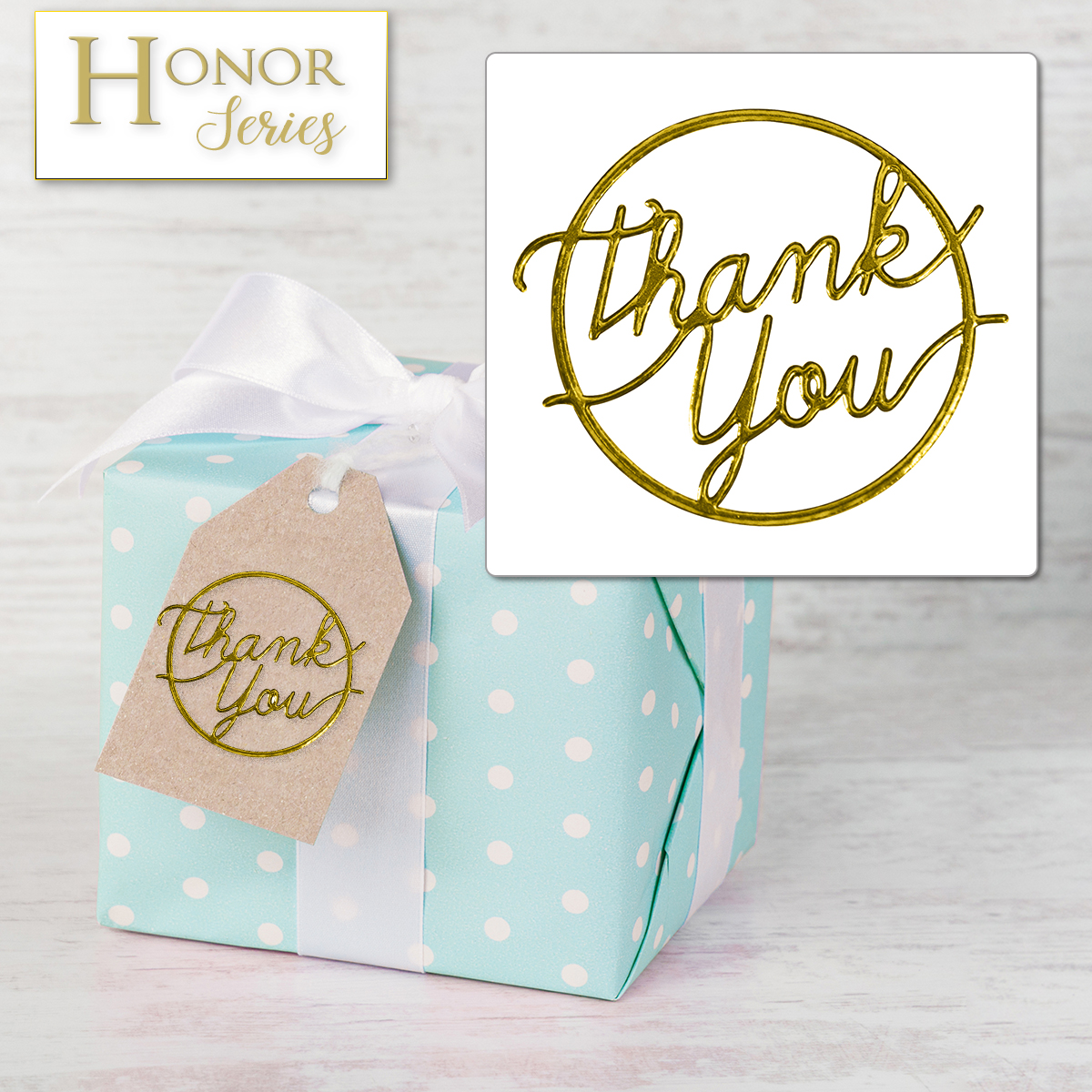 Honor Series - Delicate Touch Gold Thank You Seals - 25 Count