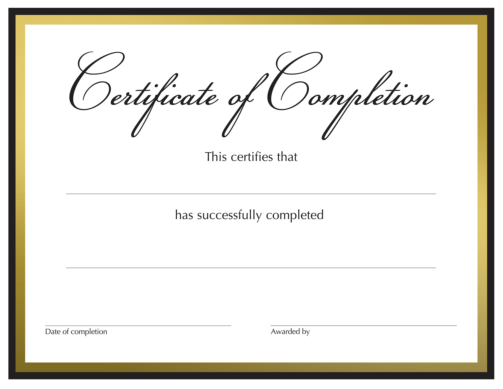 Black & Gold Complete Foil Preprinted Certificate - 15 Count