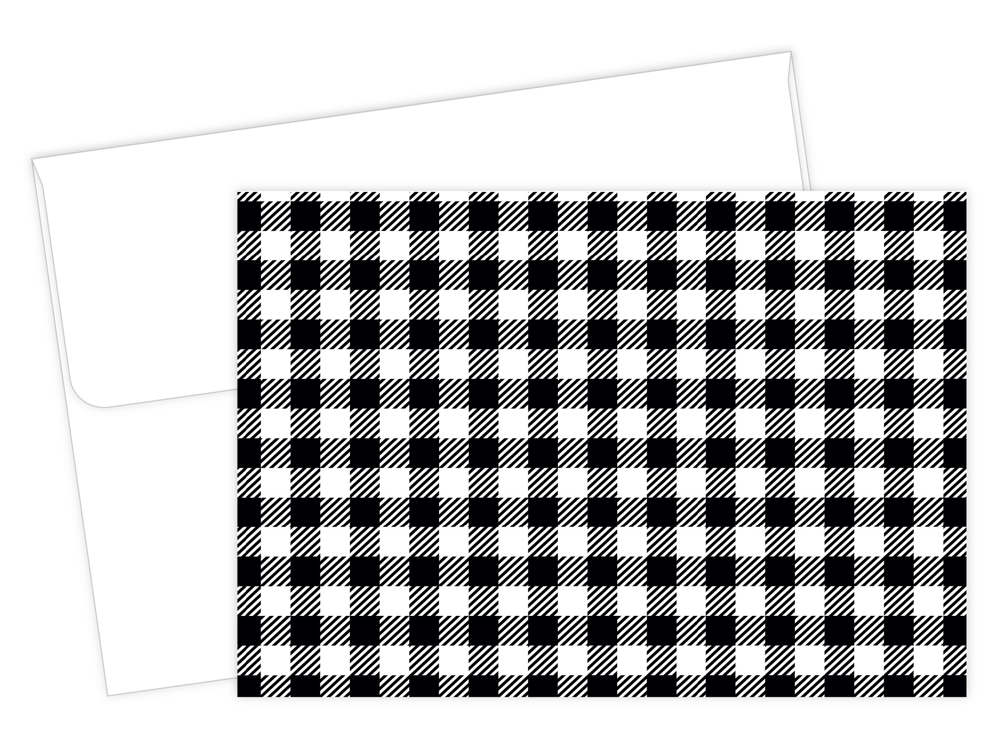 Black Buffalo Plaid Note Card - 50 Count
