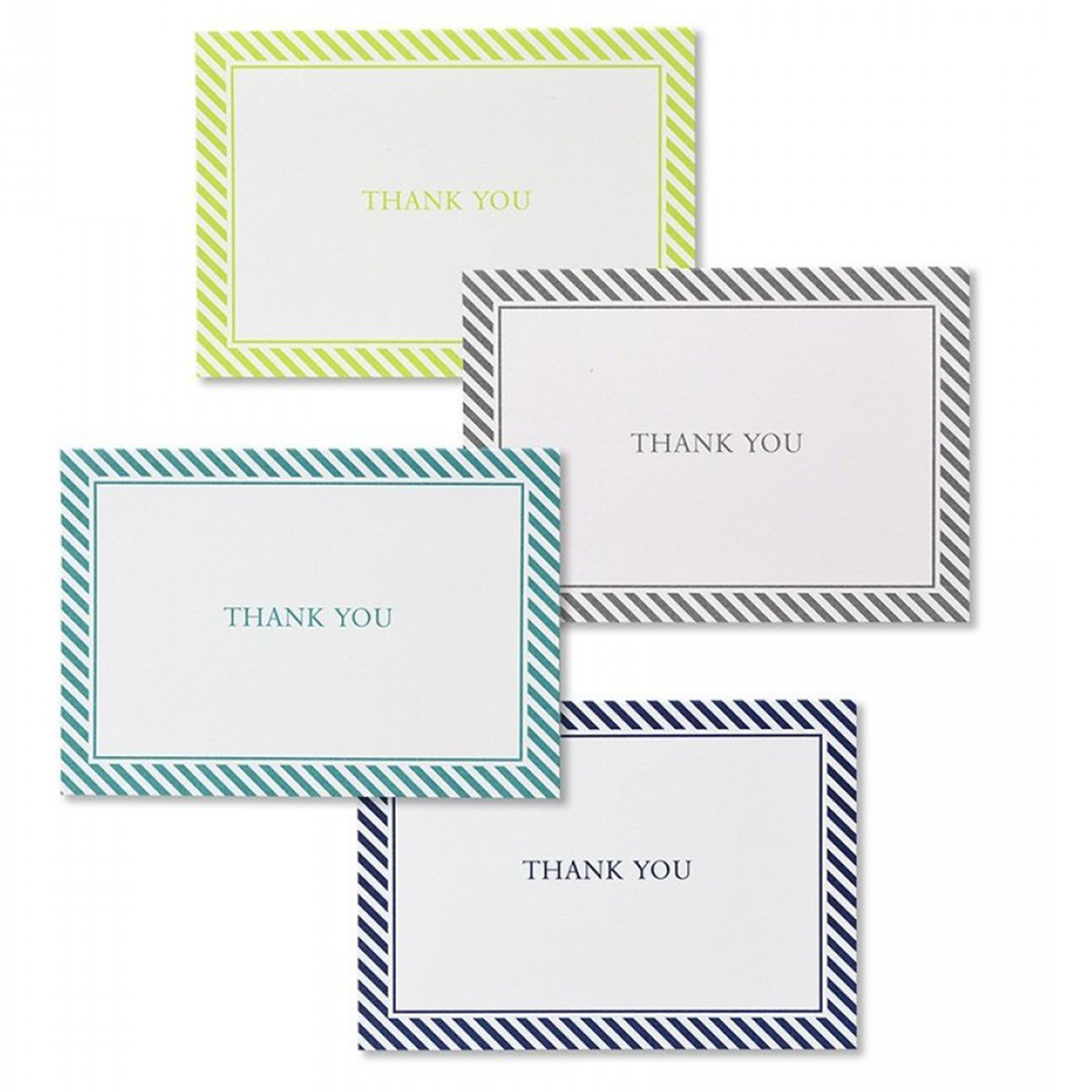 Cool Tone Stripes Thank You Card Assortment - 24 Count
