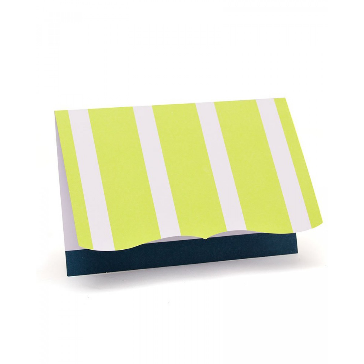 Navy and Lime Stripe Note Cards - 10 Count
