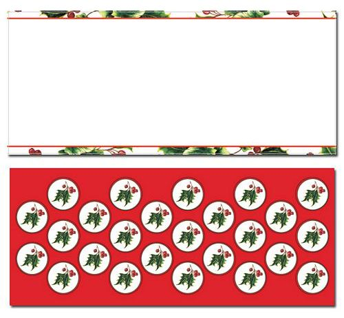 Holly & Ivy Border #10 Envelope With Seals - 25 Count